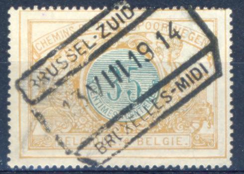 Xj794: SP 33 : Gestempeld: BRUSSEL-ZUID / 23 VIII 19 14 / BRUXELLES- MIDI :( Oorlog 1914 !!!) . - Invasión