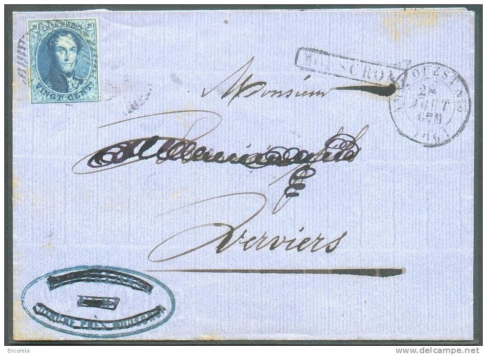 N°11 - Médaillon 20 Cent. Bleu, TB Margé,obl. Ambulant O.III S/L. De MOUSCRON (gr. Enc.) + Càd AMBT. OUEST 3 Vers Vervie - 1858-1862 Medallions (9/12)