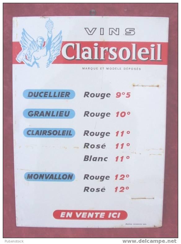 """Plaque Tarif  Métal """"VINS CLAIRESOLEIL"""" - Alimentaire"""