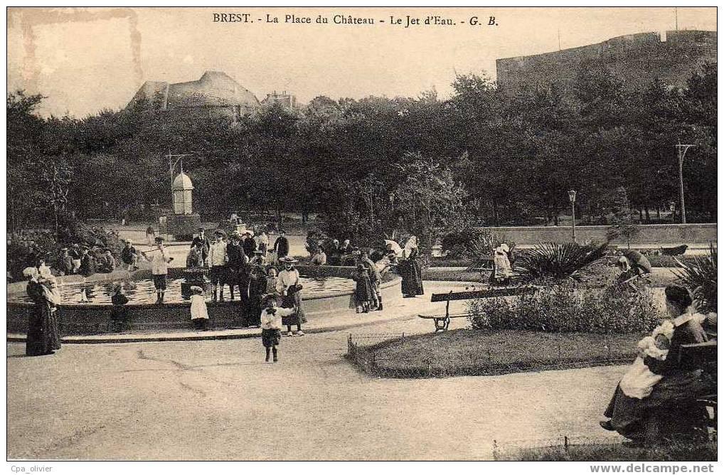 29 BREST Place Du Chateau, Jet D' Eau, Animée, Nourrices, Enfants, Ed GB, 191? - Brest
