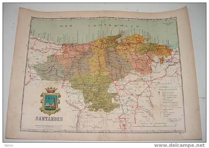 MAPA DE LA PROVINCIA DE SATANDER 1900, Ed. Alberto Martin. Barcelona 1900. 51 X 38 Cm. - Sin Clasificación