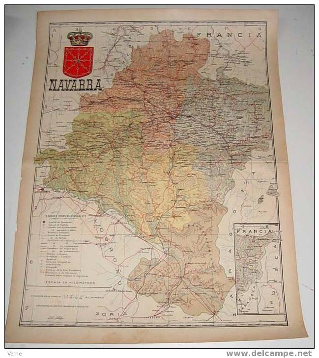 MAPA DE LA PROVINCIA DE NAVARRA 1900, Ed. Alberto Martin. Barcelona 1900. 51 X 38 Cm. - Mapas