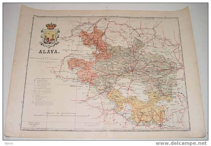 MAPA DE LA PROVINCIA DE ALAVA 1900, Ed. Alberto Martin. Barcelona 1900. 51 X 38 Cm. - Mapas