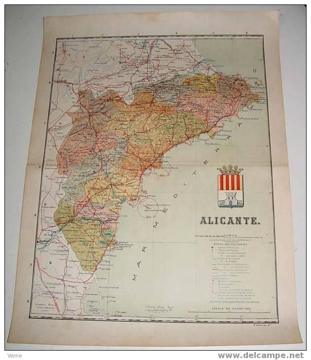 MAPA DE LA PROVINCIA DE ALICANTE 1900, Ed. Alberto Martin. Barcelona 1900. 51 X 38 Cm. - Mapas