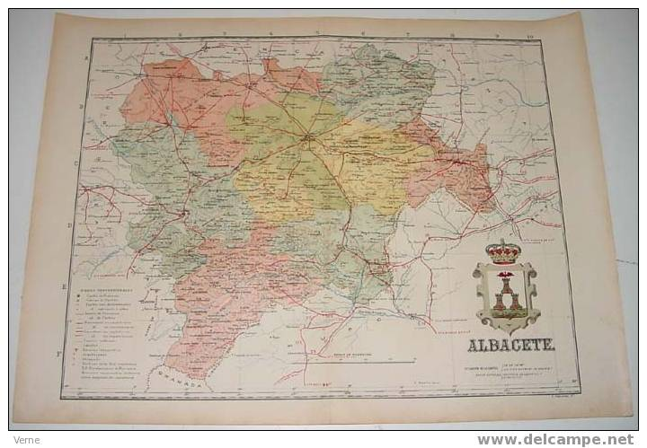 MAPA DE LA PROVINCIA DE ALBACETE 1900, Ed. Alberto Martin. Barcelona 1900. 51 X 38 Cm. - Mapas