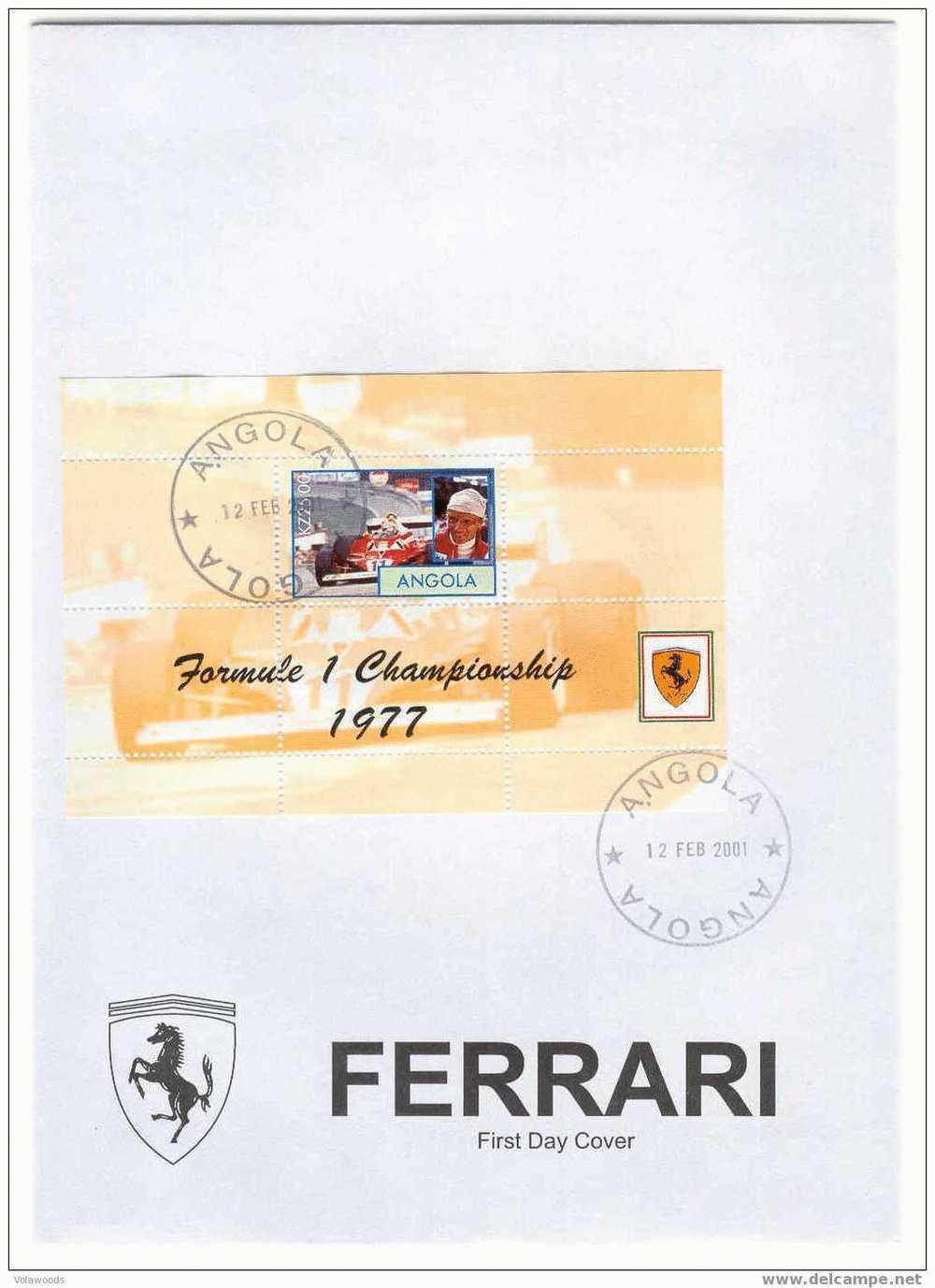 Angola - Busta FDC Piloti Campioni Del Mondodella Ferrari - Niki Lauda 1977 - Cars