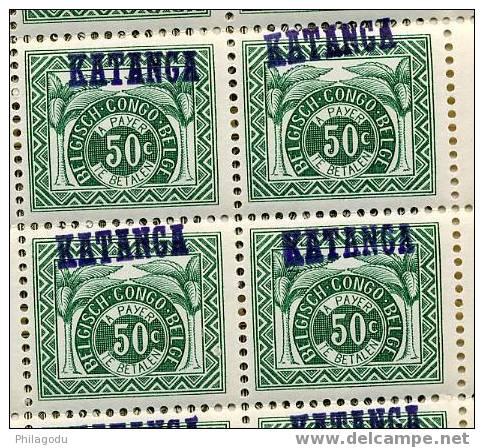 KATANGA Postage Due Taxe The 3 Good Small Values 1a 2a 3a FULL SHEETS OF 50 ++ NH 1500 Euros Catalogue - Katanga