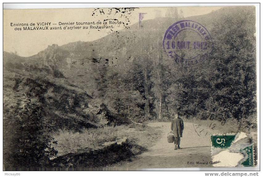 Près Vichy-1912-CUSSET--Dernier Tournant De La Route Des Malavaux Avant D´arriver Au Restaurant(animée,cachet)éd Ménard - Frankrijk
