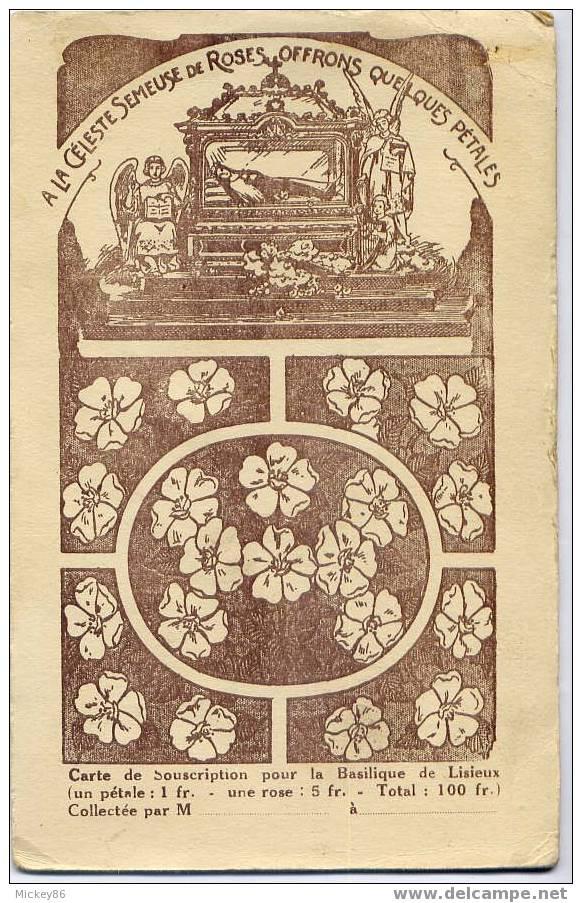 LISIEUX--Carte De Souscription Pour La Basilque De Lisieux--RECTO--VERSO Et Zoom Du VERSO - Lisieux