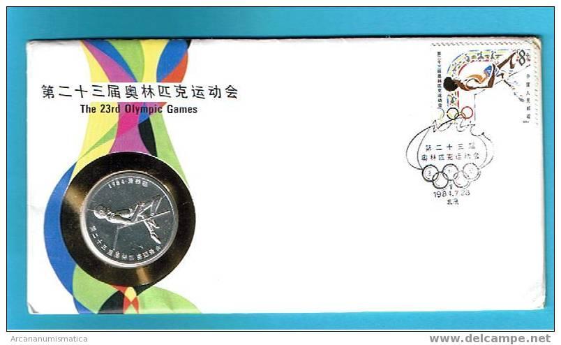 CHINA  Sobre FDC Primer Dia Circulacion LOS ANGELES Moneda Más Sobre   DL-7232 - China