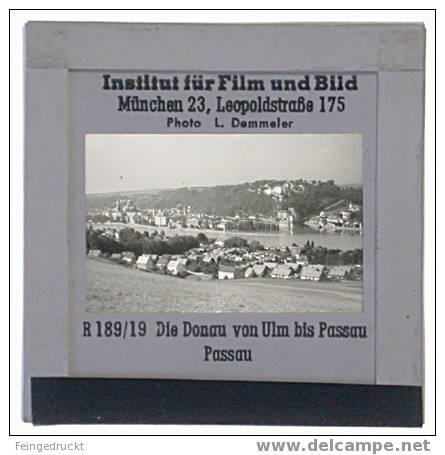 "Dia 005 - ""Die Donau Von Ulm Bis Passau"" - 4 Glasdias - Glasdias"
