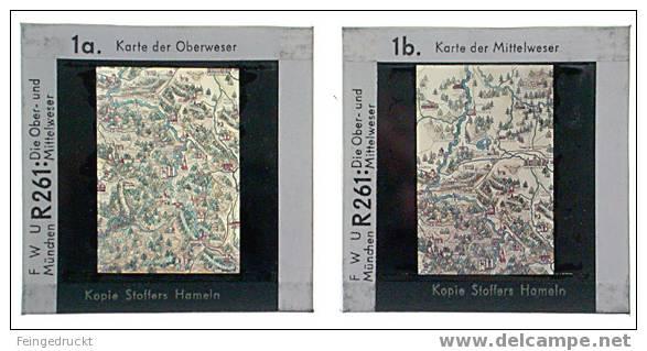 """Dia 006 - """"Die Ober- Und Mittelweser"""" - 10 Glasdias (darunter 2 Farb. Karten) - Glasdias"""