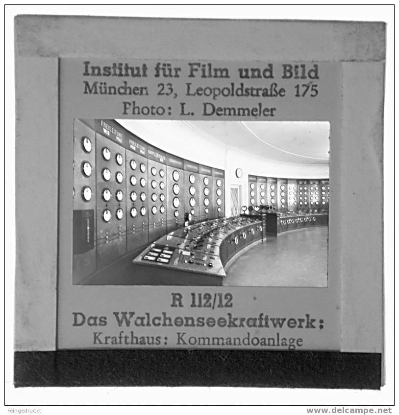 "Dia 012 - ""Das Walchensee-Kraftwerk"" - 17 Glasdias (komplett) - Glasdias"