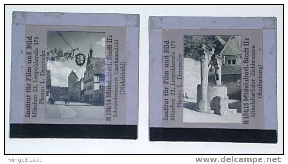 "Dia 017 - ""Mittelalterliche Stadt"" - 4 S/w Glasdias - Glasdias"