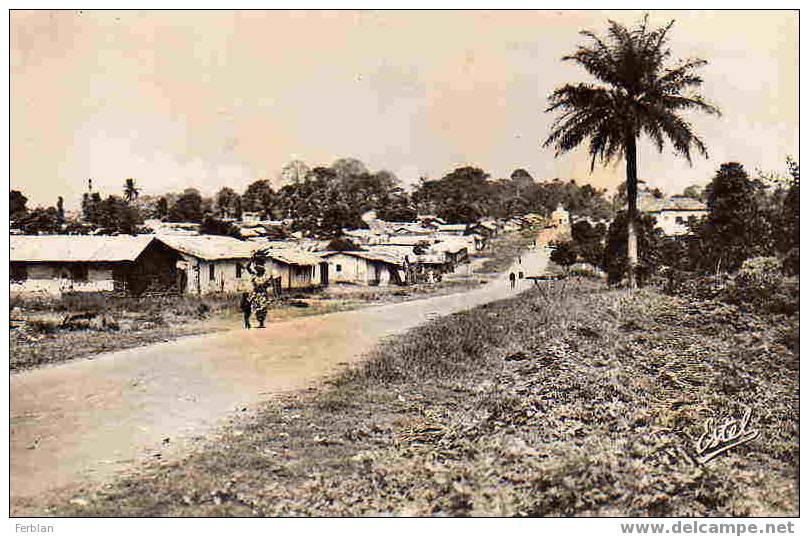 AFRIQUE. COTE D´IVOIRE. ADJAME. Vue Sur Le Village. Carte Dentelée. - Côte-d'Ivoire