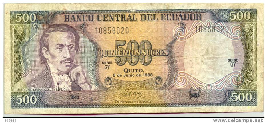 Ecuador 500 Quito 8-6-1988  Used - Ecuador