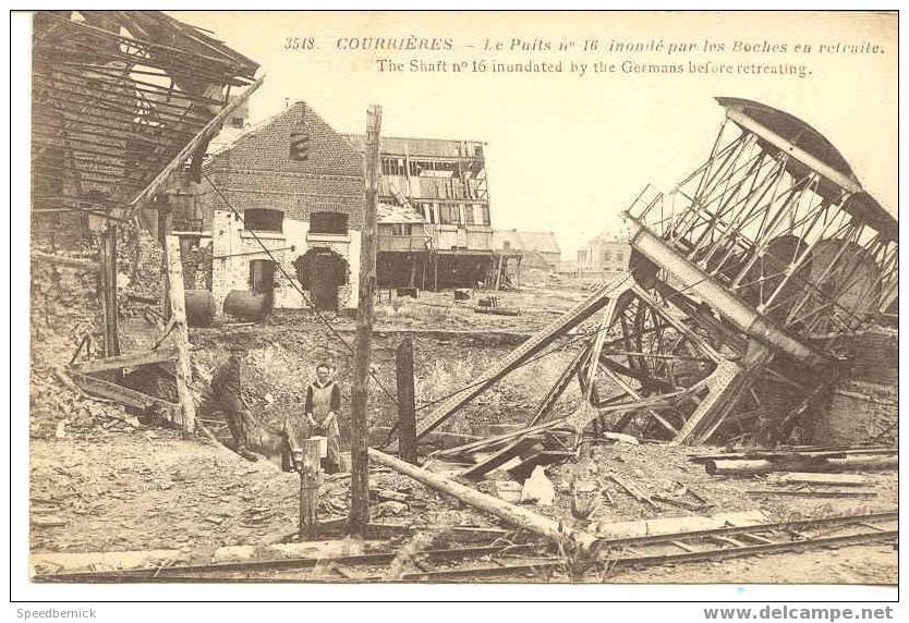3720 COURRIERES Le Puits N°16 Inondé Par Les Boches En Retraite . 3548 Au Profit Ecoles Dévastées . Guerre 1914 - France