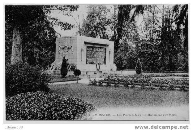 68 MUNSTER  LES PROMENADES ET LE MONUMENT AUX MORTS - Monuments