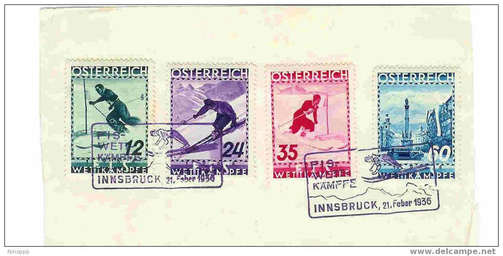 Austria-1936 Skiing Used Set With Special Cancellation On Paper - Used Stamps