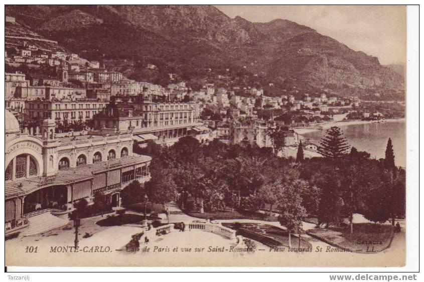 CPA De Monte Carlo: Café De Paris Et Vue Sur Saint Roman - View Towards St Roman - Monaco