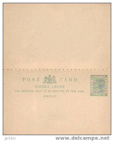 Entier Postal Double (Stationery) Halfpenny Avec Carte Réponse (Reply) - État Neuf - Sierra Leone (1961-...)