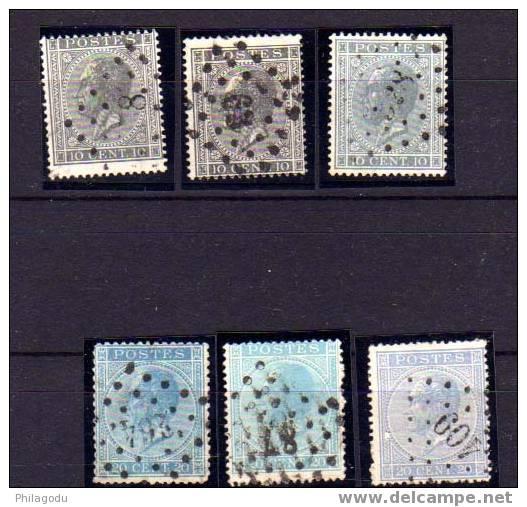 Belgique 1865-66, Léopold 1er, 3X N° 17 Et 3 X N° 18,  Cote 15 E JOLIES NUANCES - 1865-1866 Profil Gauche