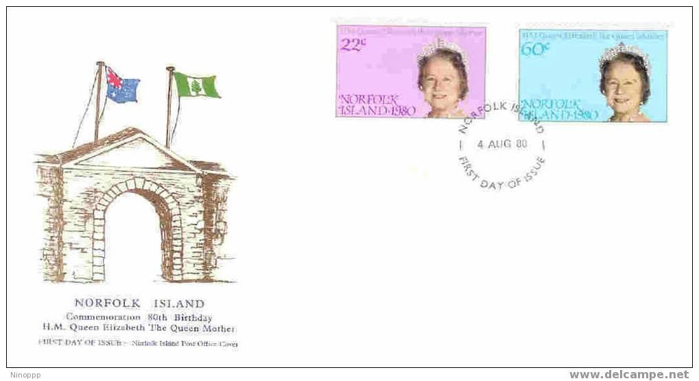 Norfolk Island-1980 80th Birthday Queen Mother FDC - Norfolk Island