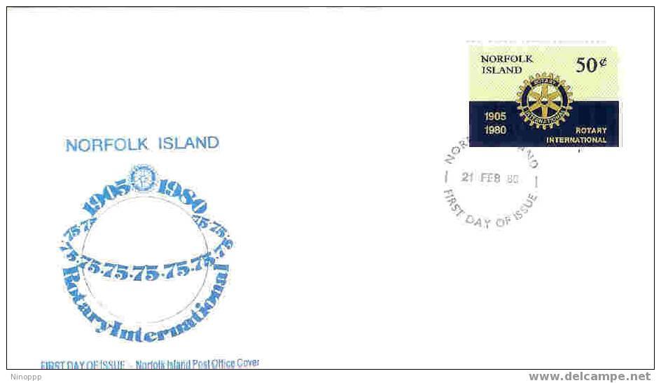 Norfolk Island-1980 Rotary 75 Years FDC - Rotary, Lions Club