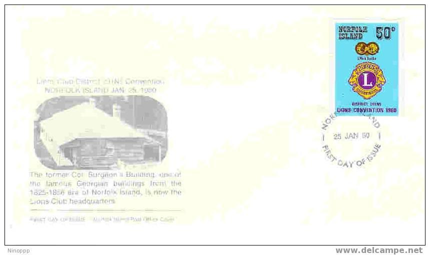 Norfolk Island-1980 Lions FDC - Rotary, Lions Club