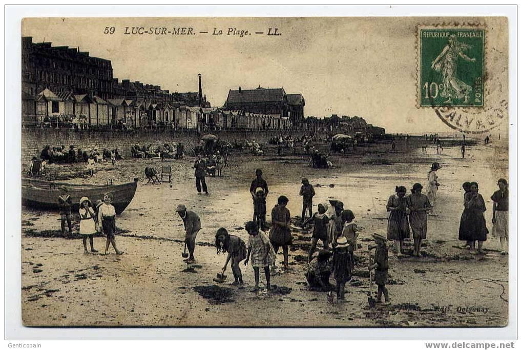 H61 - LUC-sur-MER -  La Plage (1922 - Très Joli Plan) - Luc Sur Mer
