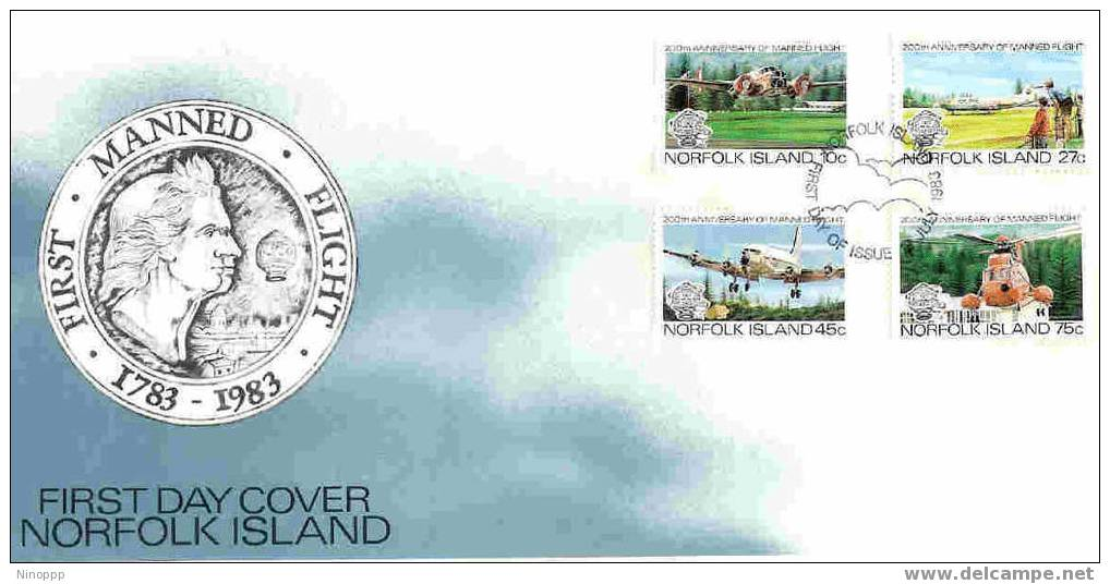 Norfolk-1983 200th Anniversary Manned Flight  FDC - Norfolk Island