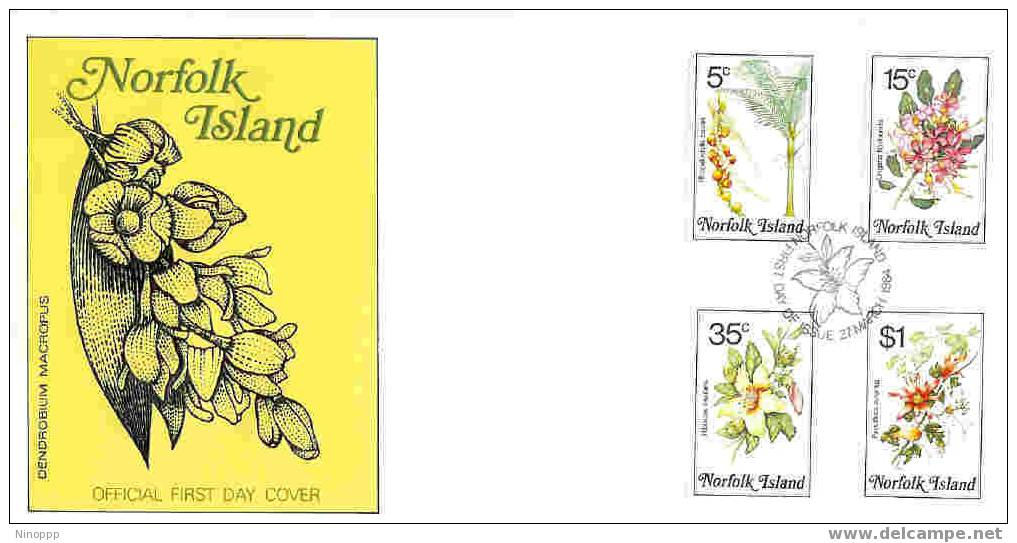 Norfolk-1984 Flowers Part II  FDC - Norfolk Island
