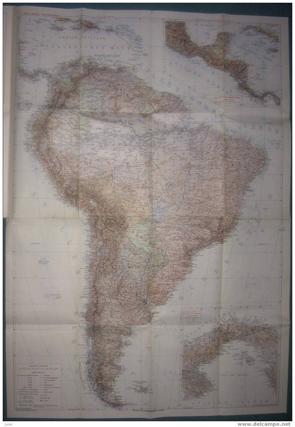 Map Of Central And South America (1958) - Geographical Maps