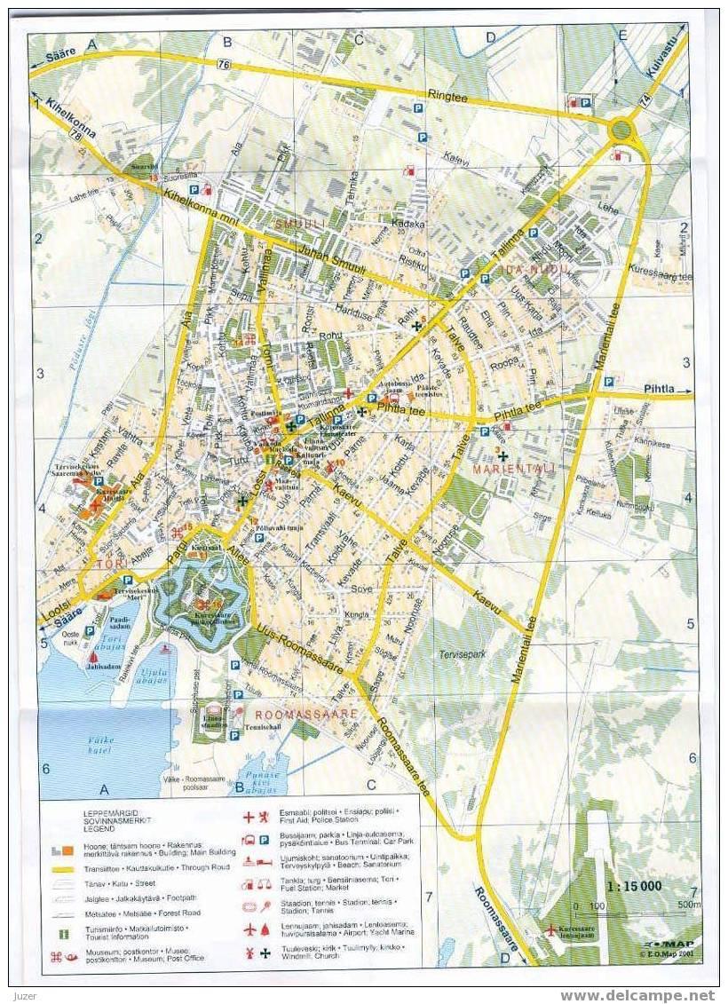 Estonia: Map Of Kuressaare City - Topographical Maps