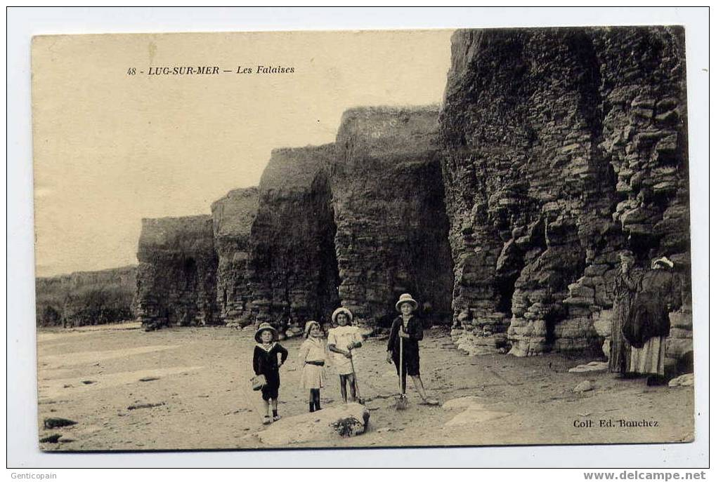 H66 - LUC-sur-MER - Les Falaises (jolie Carte Animée De 1913) - Luc Sur Mer