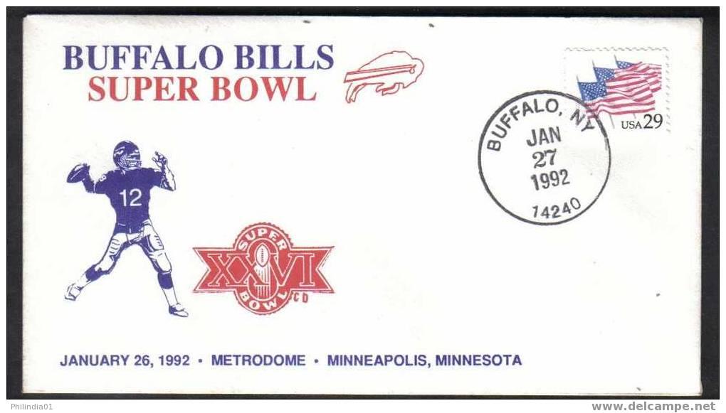 USA  1992 SPORTS - SUPER BOWL -BUFFALO BILLS     SPECIAL COVER   & CACHET # 5266 - Bowls