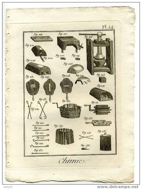"""""""CHIMIE . Pl. 14"""". EAU FORTE DU XVIIIe S. - Sciences & Technique"""