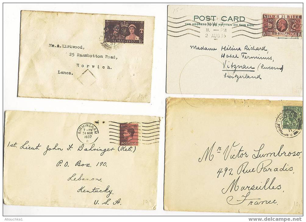 GREAT BRITAIN   MARCOPHILIE  4 LETTRES DU ROYAUME UNI  VOIR SCANN  1935/37 - 1902-1951 (Kings)