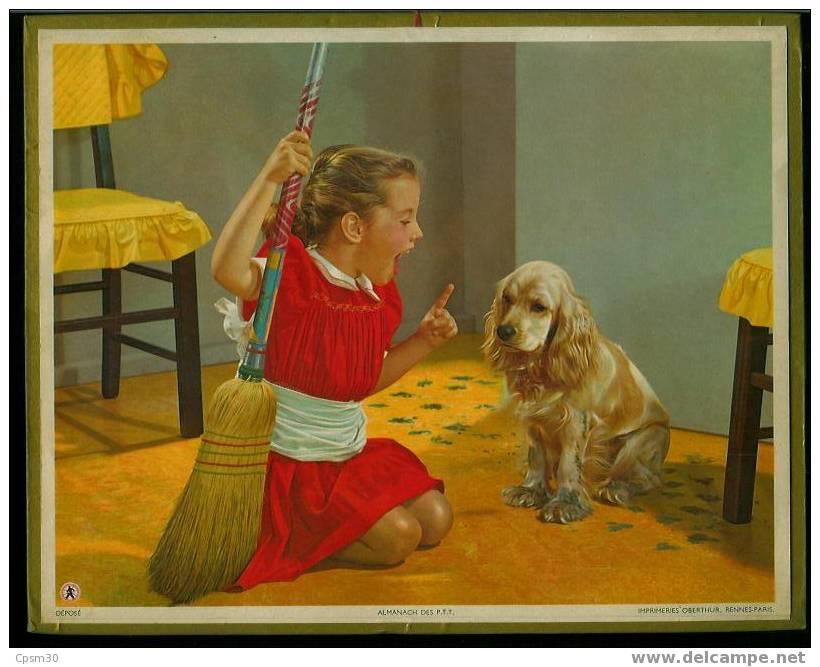 CALENDRIER GF 1956 GF - La Petite Fille Et Son Chien - Calendriers