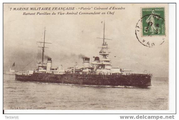 """CPA De La Marine Militaire Française:Le """"Patrie"""" Cuirassé D'Escadre Battant Pavillon Du Vice Amiral Commandant En Chef. - Guerra"""