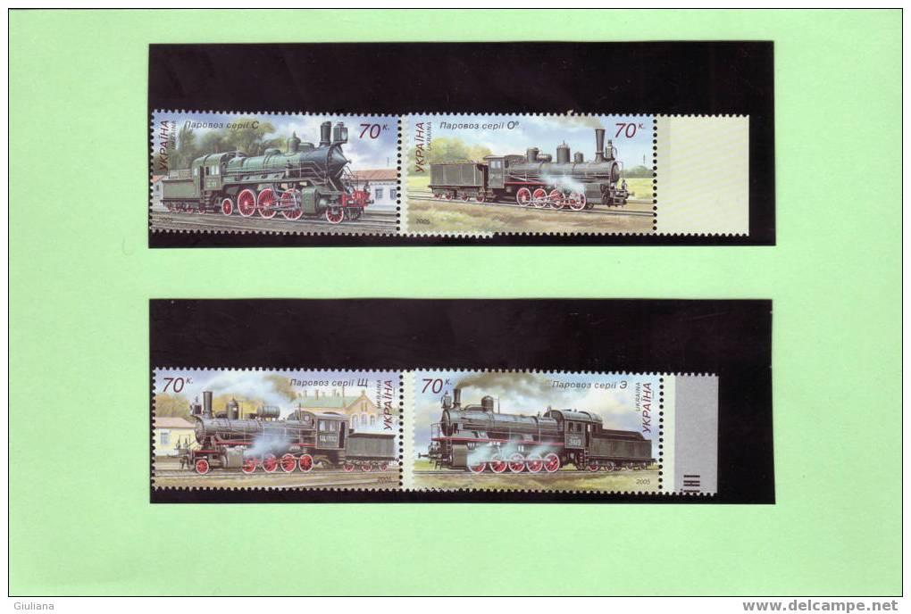 Ukraina - Serie Di 4v. Anno 2005** - Locomotive Varie - Treni