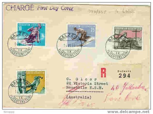Liechtenstein-1955 Registered First Day Cover Sent To Australia - Skiing