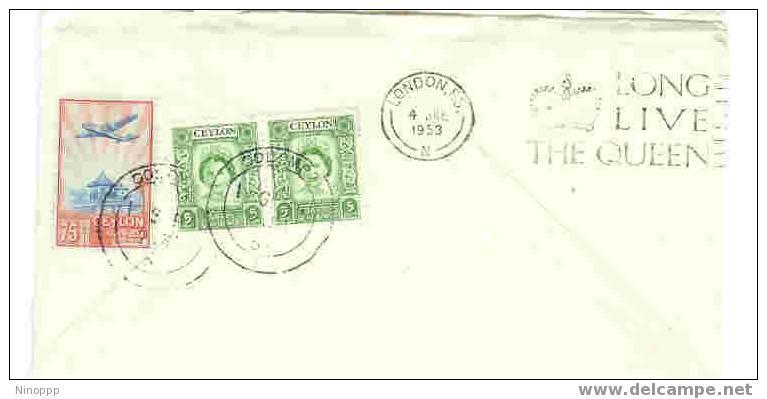 Ceylon-1953 Qantas Coronation Cover - Sri Lanka (Ceylon) (1948-...)