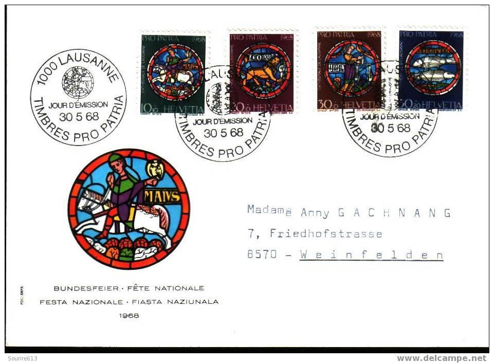 Fdc Art >  Verres & Vitraux Suisse 1968 Cathédrale Lausanne - Vetri & Vetrate