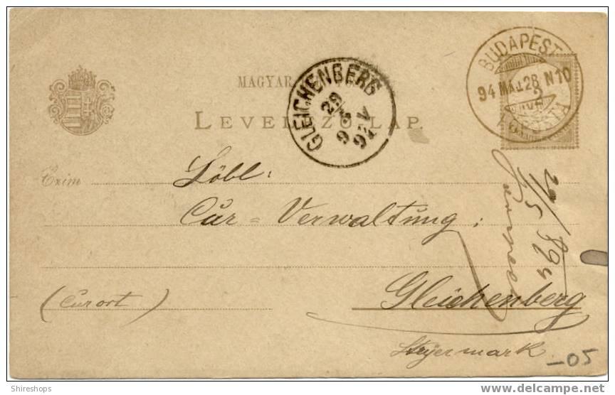 Budapest Gleichenberg 1894 - Postmark Collection