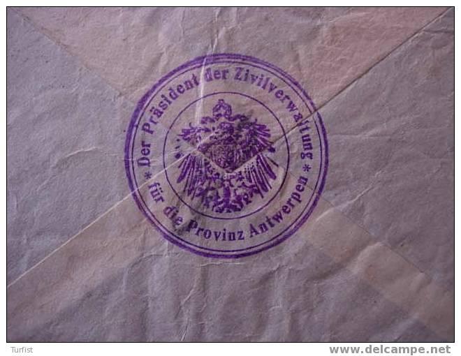 EXPRESSBRIEF ANTWERPEN 9-9-15>VRACENE (ETAPPEGEBIED) VIA ZIVILVERWALTUNG - Weltkrieg 1914-18