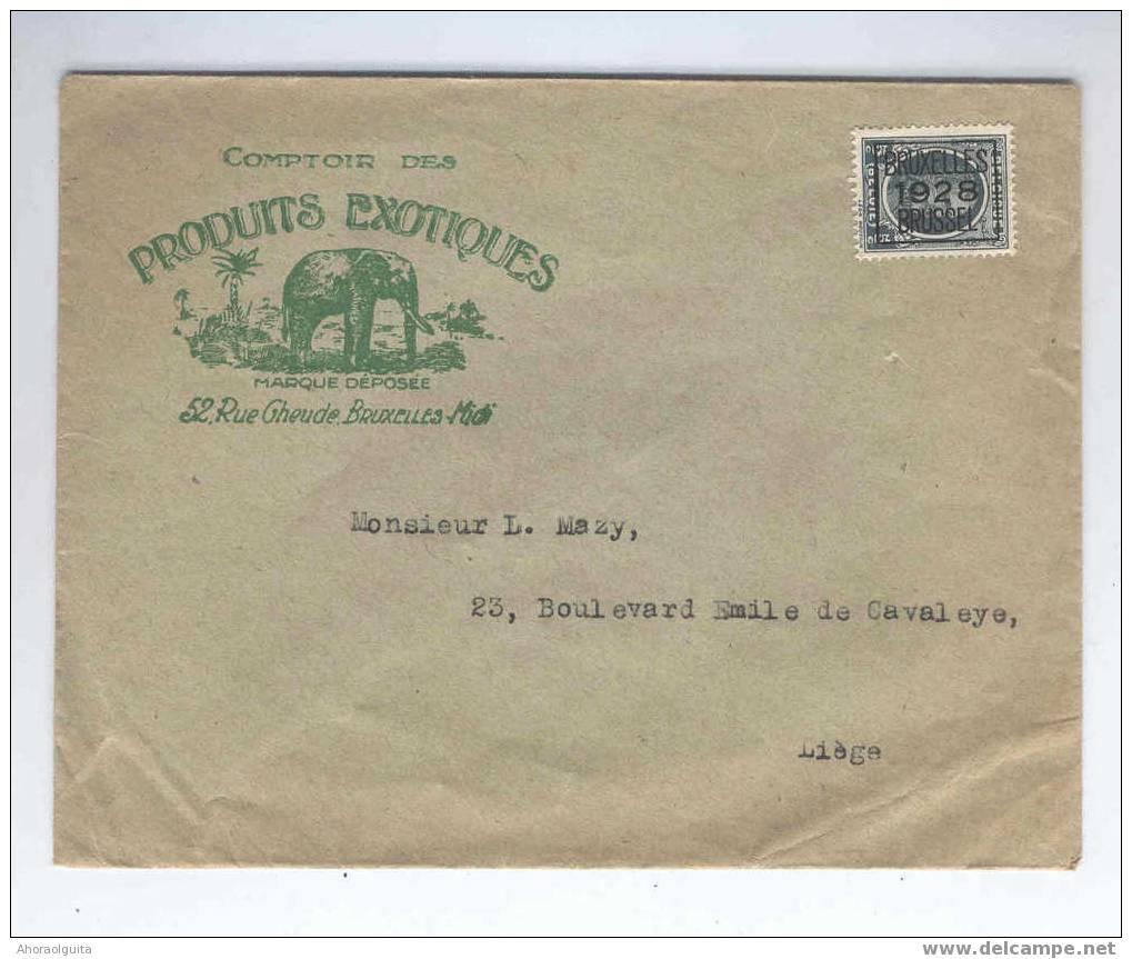 IMPRIME PREO 5 C HOUYOUX BRUXELLES 1928 - TB Entete Illustrée ELEPHANT Produits Exotiques  --  4/546 - 1922-1927 Houyoux