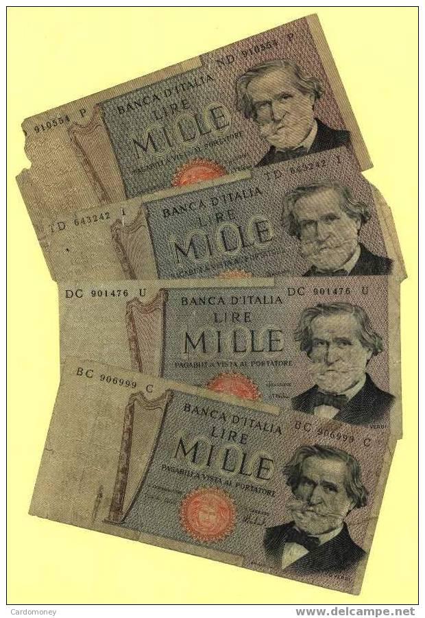 ITALIE Lot De 4 Billets De 1000  Lires Verdi ITALIA ITALY (N° 441) - 1000 Lire