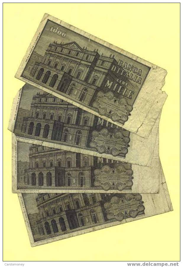 ITALIE Lot De 4 Billets De 1000  Lires Verdi ITALIA ITALY (N° 441) - [ 2] 1946-… : République