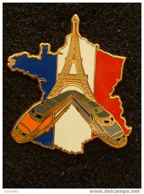 TRAIN TGV ORANGE/GRIS - CARTE DE FRANCE / TOUR EIFFEIL BALLARD DORE OR FIN - TGV